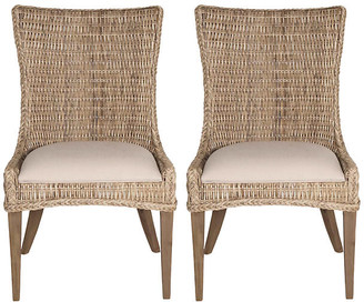 One Kings Lane Hugo Gray Wicker Side Chairs - Set of 2