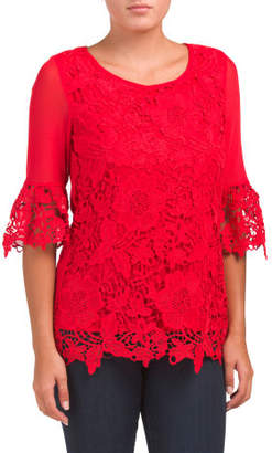 Illusion Mesh Bell Sleeve Lace Top