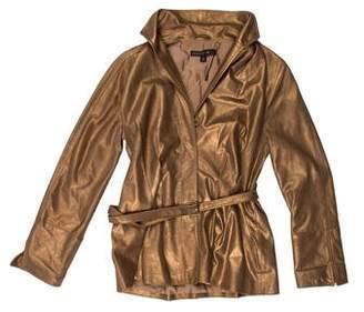 Lafayette 148 Metallic Leather Jacket w/ Tags