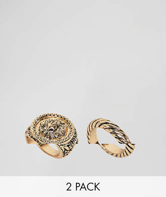Asos (エイソス) - Asos Curve ASOS DESIGN Curve Pack Of 2 Twist And Lion Sovereign Rings