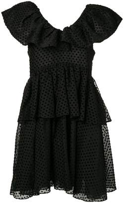 Ganni polka dot ruffle dress