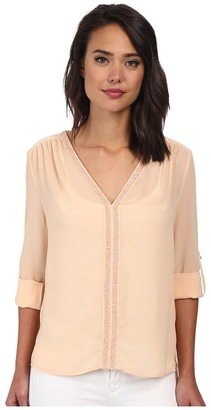 Christin Michaels Sheer Dahlia Blouse Sequin with Roll Up Sleeve and Tab $69 thestylecure.com