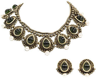 One Kings Lane Vintage Vrba Bib Stone Necklace with Earrings