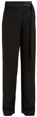 Joseph Stanley Wrap Front Twill Wide Leg Trousers - Womens - Black