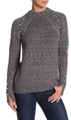 Kensie Long Sleeve Faux Pearl Detailed Mock Neck Sweater