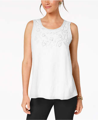 Style&Co. Style & Co Cotton Soutache-Trim Tank Top, Created for Macy's