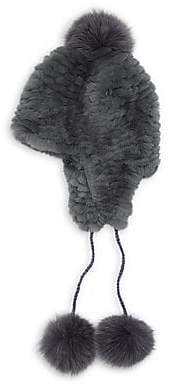 Pologeorgis Women's Knit Rabbit & Fox Fur Pom-Pom Trapper Hat