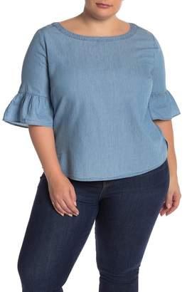 Susina Chambray Ruffle Sleeve Boxy Top (Plus Size)