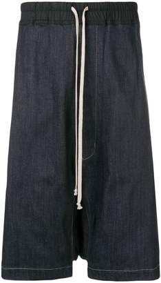 Rick Owens drop crotch denim shorts