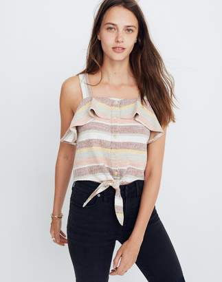 Madewell Texture & Thread Ruffle Tie-Front Tank in Stripe