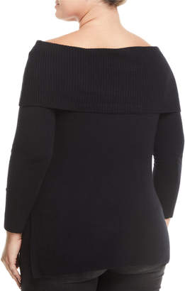 Neiman Marcus Cashmere Off-The-Shoulder Tunic, Plus Size