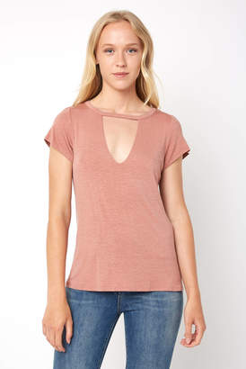 Abbeline Choker Neck Washed Jersey Tee