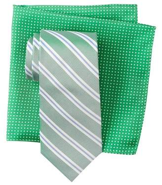 Tommy Hilfiger Creek Stripe Silk Tie & Polka Dot Silk Pocket Square Box Set