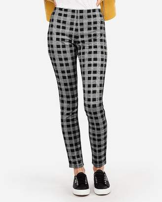 Express Petite High Waisted Pull-On Plaid Leggings