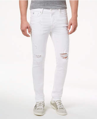 2ee20745d GUESS Men White Stretch Skinny Fit Jeans