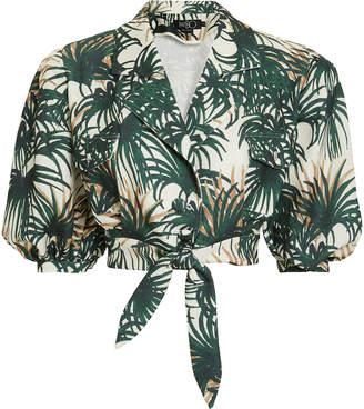 PatBO Palm Print Tie Waist Crop Top