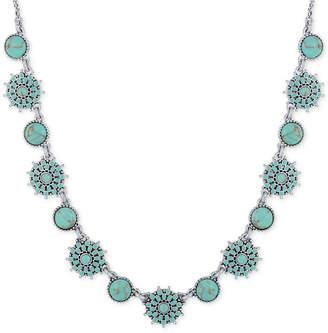 Lucky Brand Silver-Tone Blue Stone Collar Necklace