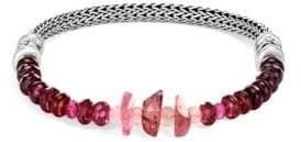 John Hardy Chain Silver& Pink Tourmaline, Purple and Pink Garnet Fox Tail Bracelet