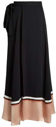 Roksanda Leif Contrast Panel Silk Blend Crepe Skirt - Womens - Black Pink