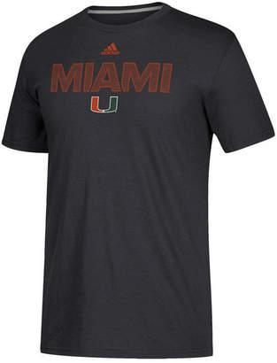 adidas Men Miami Hurricanes Performance Sideline Logo T-Shirt