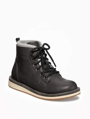 Old Navy Faux-Leather Lace-Up Ankle Boots for Boys
