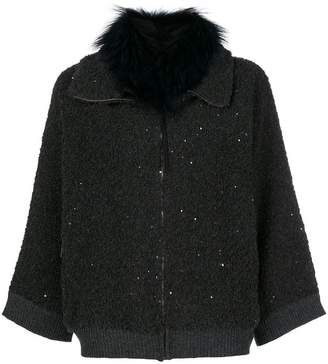 Fabiana Filippi fur collar sequinned cardi-coat