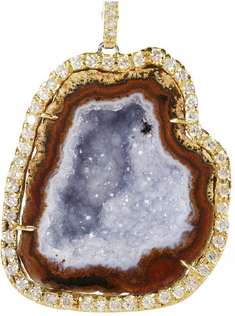 Kimberly McDonald 18-karat gold, geode and diamond earrings