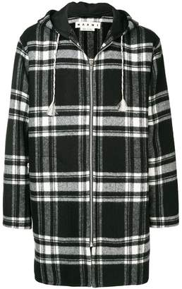 Marni tartan hooded coat