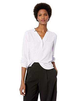 Nine West Women's Long Sleeve V-Neck 2 Pocket Light Weight Crepe Blouse