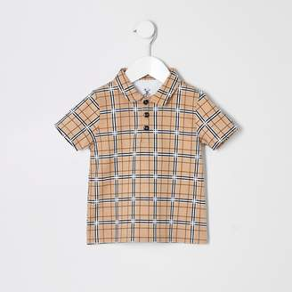 River Island Mini boys Beige check print polo shirt