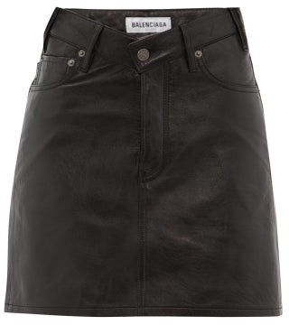 Balenciaga V Waist Grained Leather Mini Skirt - Womens - Black