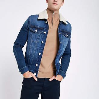 River Island Blue fleece collar muscle fit denim jacket