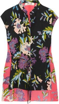 Diane von Furstenberg - Asymmetric Floral-print Silk Crepe De Chine Top - Black $270 thestylecure.com