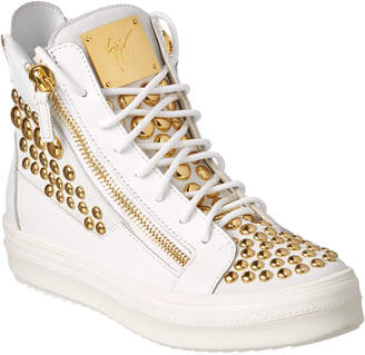 Giuseppe Zanotti Stacy Embellished Leather High-Top Wedge Sneaker