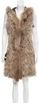 Annabelle Leather-Trimmed Fur Vest