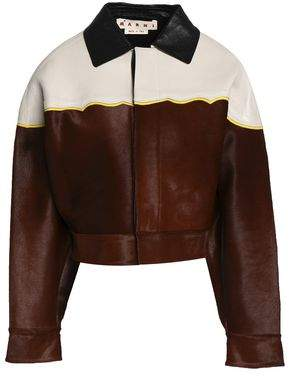 Marni Leather-paneled Calf-hair Jacket