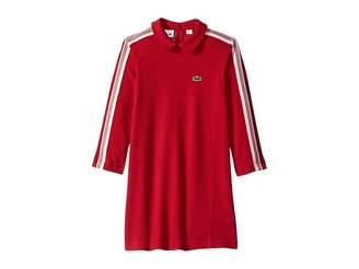 Lacoste Kids Long Sleeve Athleisure Stripes Pique Polo (Toddler/Little Kids/Big Kids)