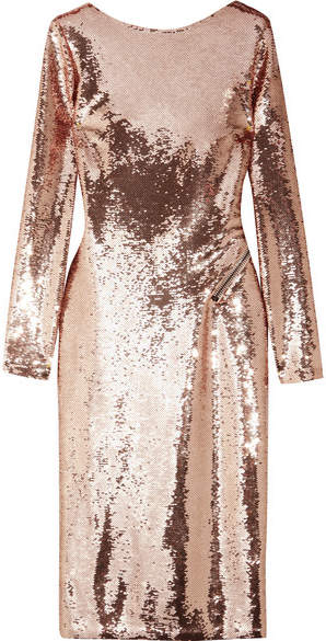 TOM FORD - Zip-detailed Sequined Satin Midi Dress - Antique rose