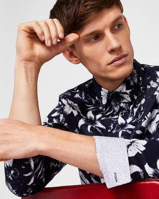 Ted Baker LUSTANO Statement floral print cotton shirt