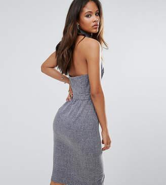 Asos Tall TALL Shirt Detail Open Back Workwear midi dress