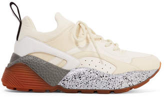 Stella McCartney Eclypse Logo-woven Neoprene-trimmed Faux Leather And Suede Sneakers - White