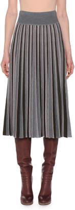 Agnona Pleated Multicolor Fine Merino Wool Pull-On Midi Skirt