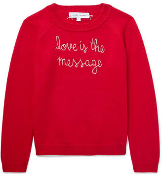 Lingua Franca Kids - Ages 2 - 6 Love Is The Message Embroidered Cashmere Sweater