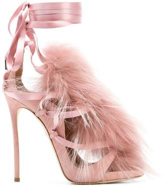 DSQUARED2 fur embellished sandals