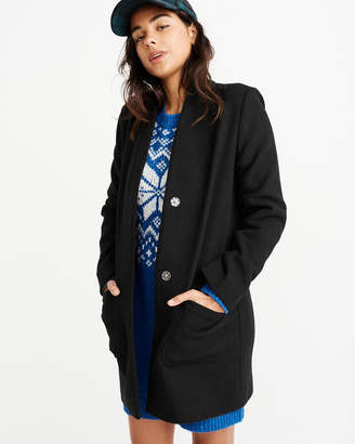 Abercrombie & Fitch Collarless Wool-Blend Coat