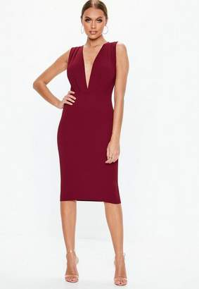 Missguided Burgundy Plunge Gathered Midi Dress