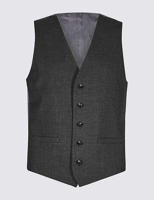 Marks and Spencer Charcoal Checked Slim Fit Waistcoat
