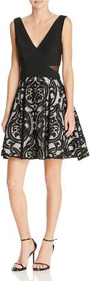 Avery G Fit-and-Flare Combo Cocktail Dress