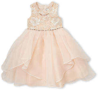 Rare Editions Toddler Girls) Pearl Pink Embroidered Dress