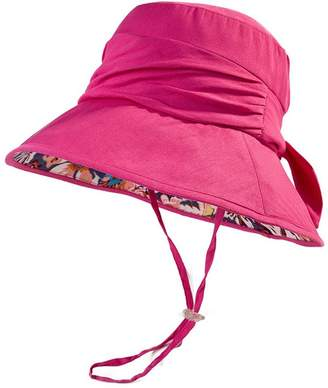 Siggi Bucket Cord Sun Hat Summer Cap Foldable Large Brim UV UPF 50 for Women Rose